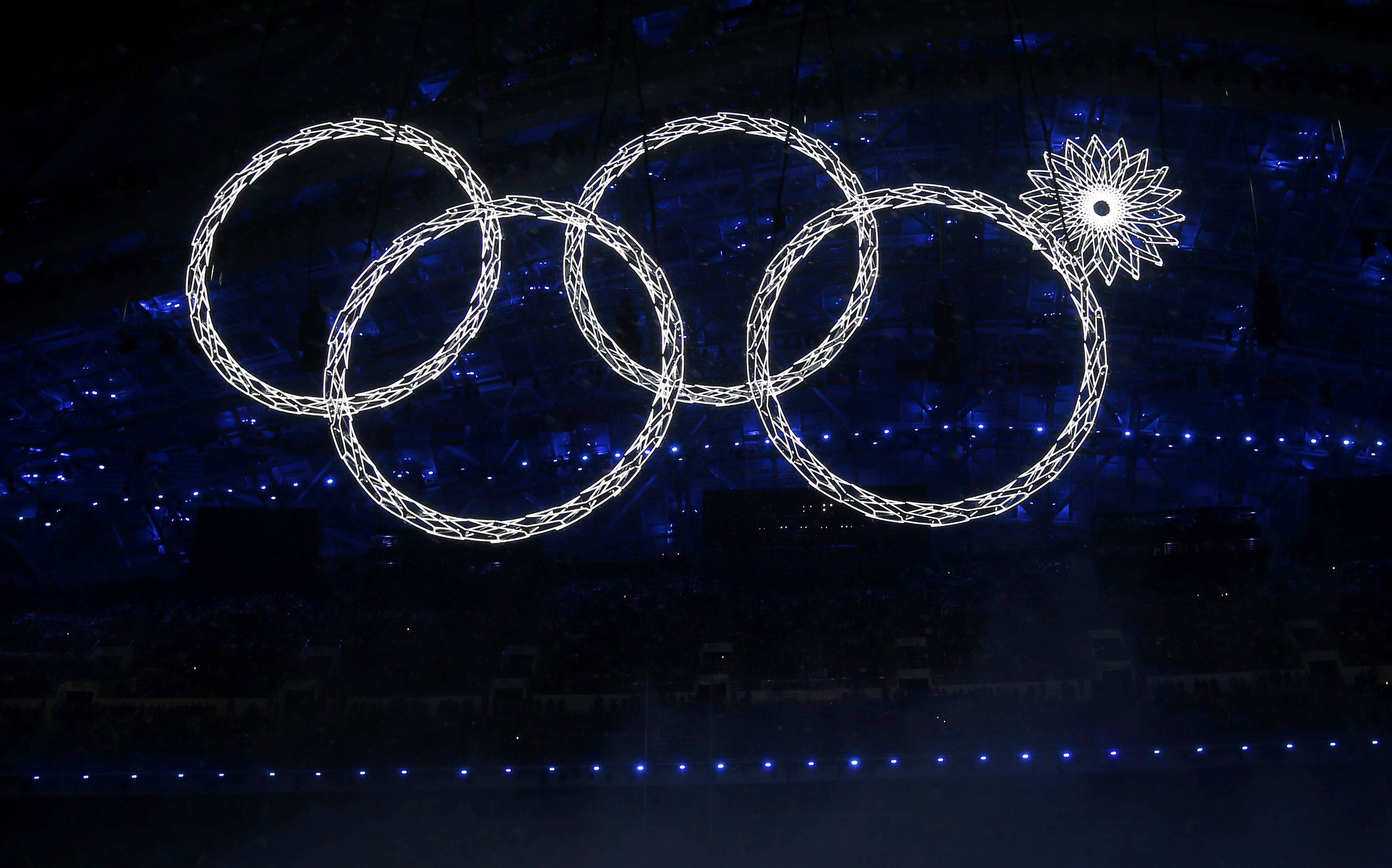 The Olympic rings are seen during the opening ceremony of the 2014 Sochi Winter Olympics, February 7, 2014. REUTERS/Brian Snyder (RUSSIA - Tags: OLYMPICS SPORT)